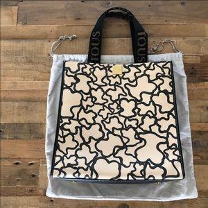 TOUS thick leather sand black Kaos tote bag